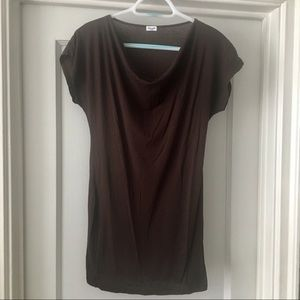 Splendid Cotton Stretch Cowl Neck Long Tee Shirt